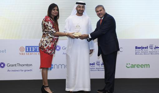 "Ali Asgar Mir wins the ""Media Personality of the Year"" award at the 4th edition of UAE – India Economic Forum 2018"
