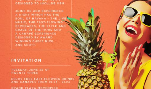 Exclusive Media Event - Invite - HALFWAY TO HAVANA: the first ladies night, designed to include men.
